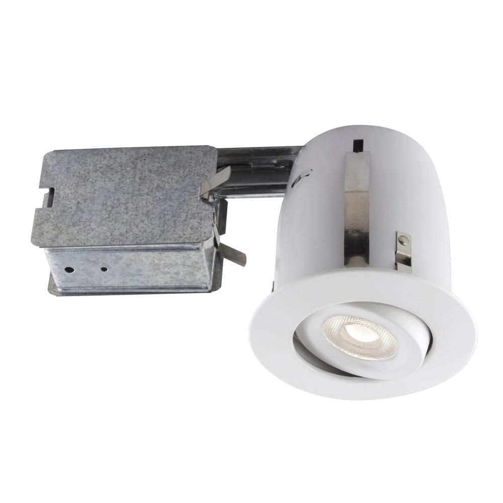 4 In Matte White Recessed Led Lighting Kit With Par20 Bulb Included