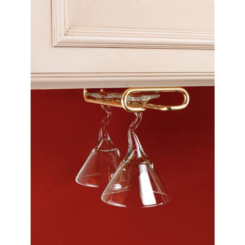 1.5 in. H x 4.25 in. W x 11 in. D Brass Under Cabinet Wine Glass Holder, Yellow