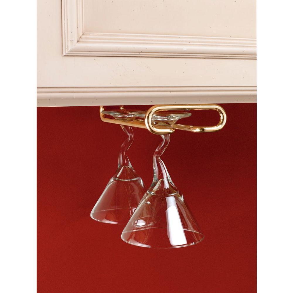 1.5 in. H x 4.25 in. W x 11 in. D Brass Under Cabinet Wine Glass Holder