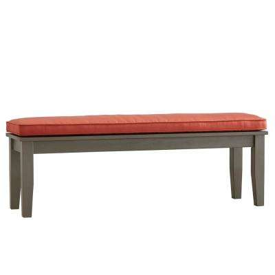 Verdon Gorge 55 in. Gray Oiled Wood Outdoor Bench with Red Cushion