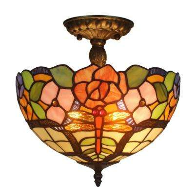Tiffany Style 2-Light Floral Pendant Lamp 12 in.