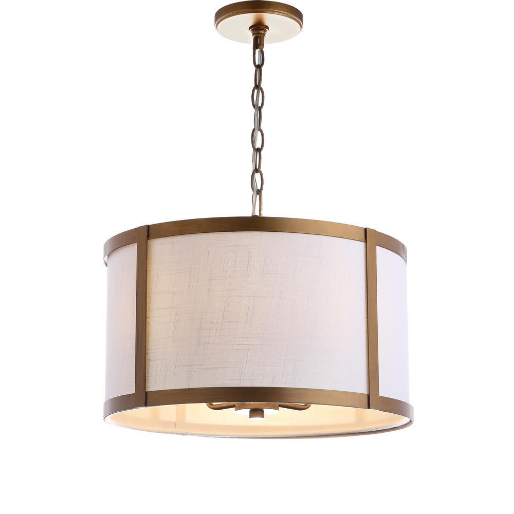 Thatcher 17 in. 4-Light Metal LED Pendant-Light, Gold/White