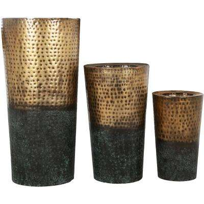 Freya 32 in. x 15.5 in. Rustic Gold and Patina Iron Planter (Set of 3)