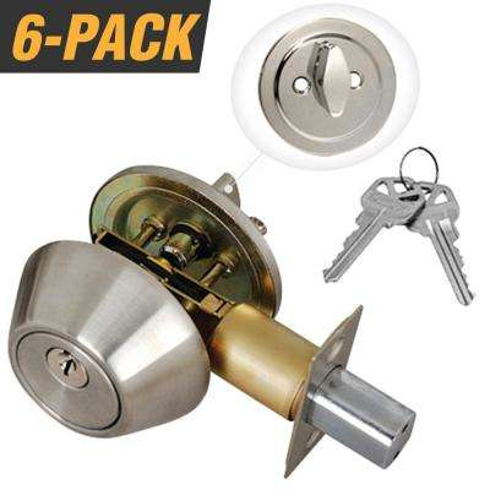 Stainless Steel Entry Door Lock Single Cylinder Deadbolt with 12 KW1 Keys (6-Pack, Keyed Alike)