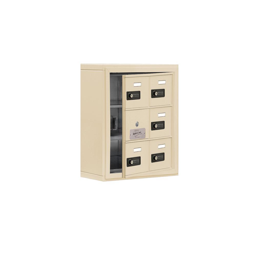19100 Series 17.5 in. W x 20 in. H x 6.25 in. D 5 Doors Cell Phone Locker S-Mount Resettable Locks in Sandstone