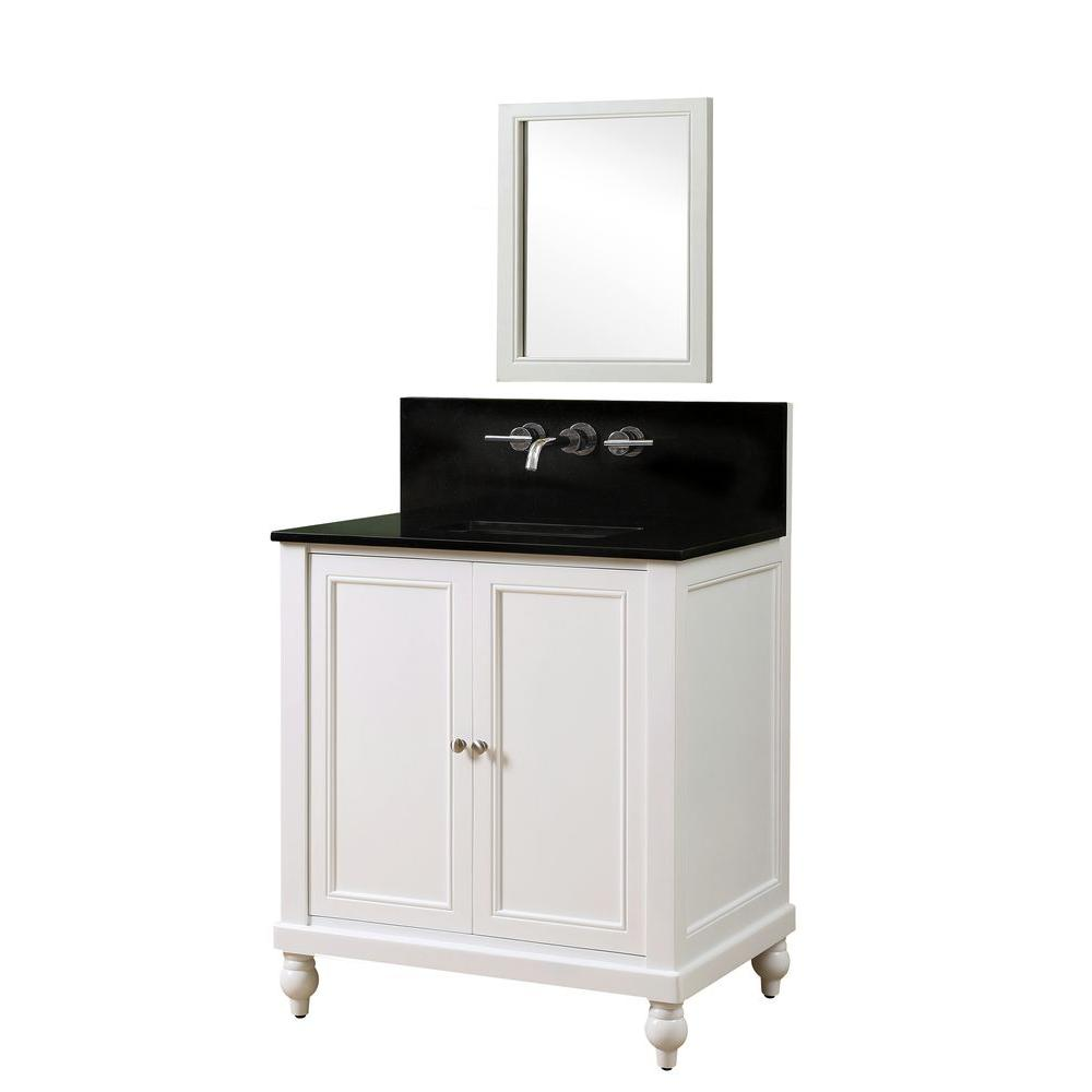 Direct vanity sink Classic Premium 32 in. Vanity in Pearl White with Granite Vanity Top in Black with White Basin and Mirror
