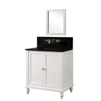 Classic Premium 32 in. Vanity in Pearl White with Granite Vanity Top in Black with White Basin and Mirror