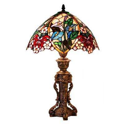 Wonderful Bronze Floral Design Table Lamp With Stained Glass