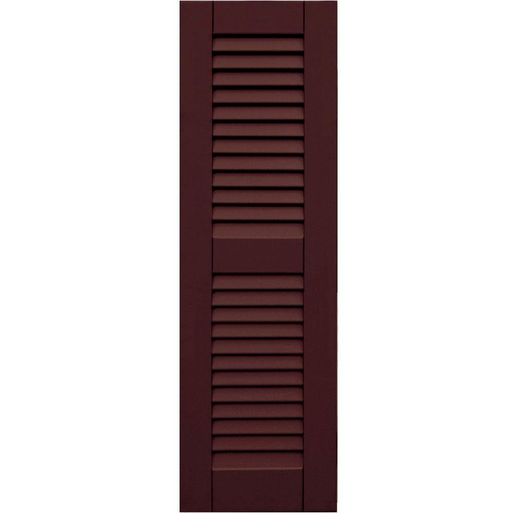 null Wood Composite 12 in. x 39 in. Louvered Shutters Pair #657 Polished Mahogany