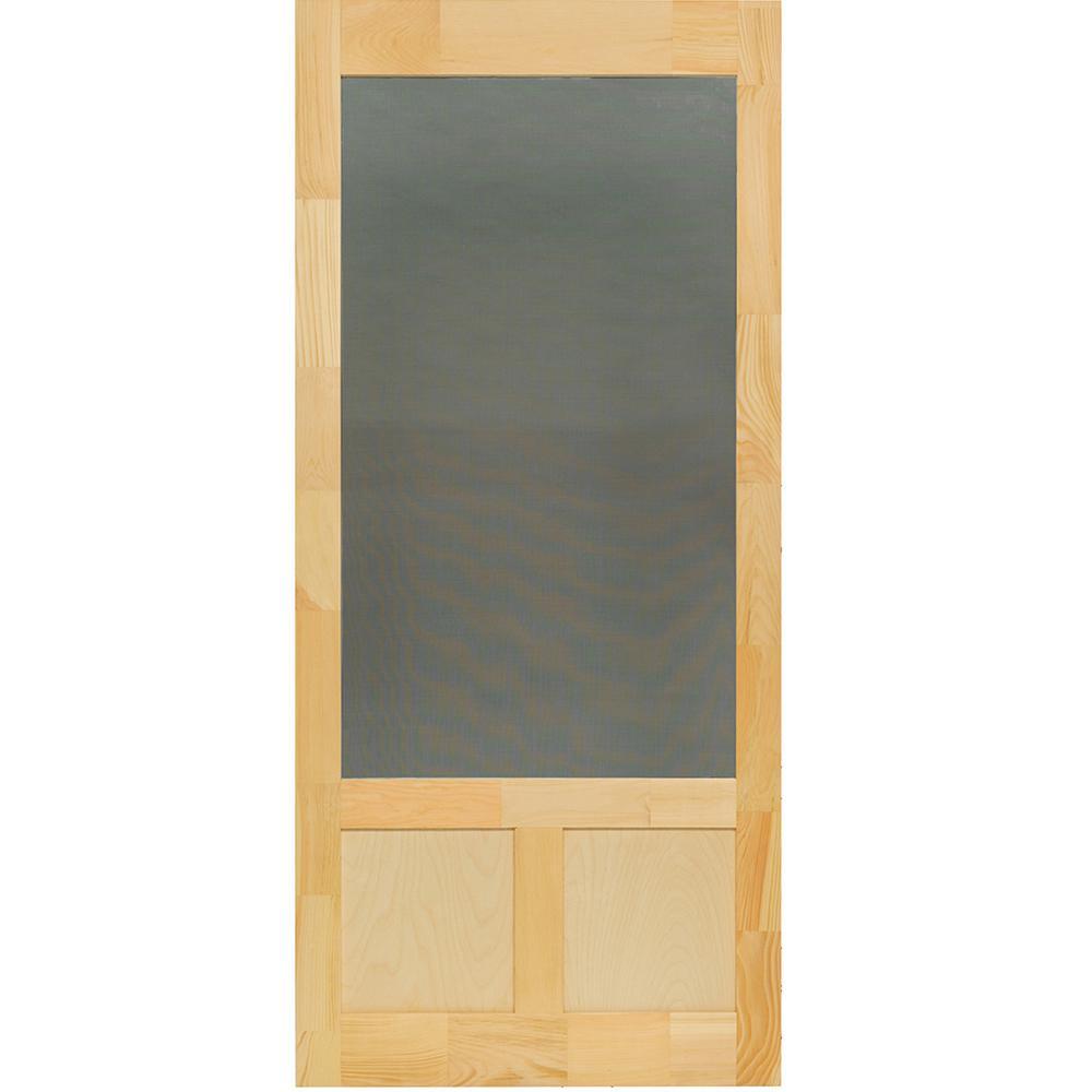 Kimberly Bay 32 in. x 80 in. Elmwood Natural Pine Screen Door