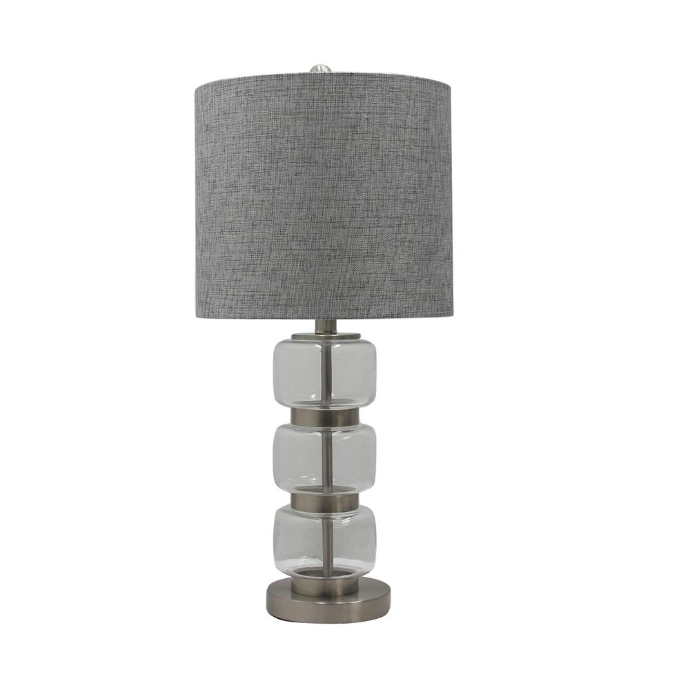 Fangio lighting 26 in smooth stacked glass and metal table lamp smooth stacked glass and metal table lamp in a brushed geotapseo Image collections
