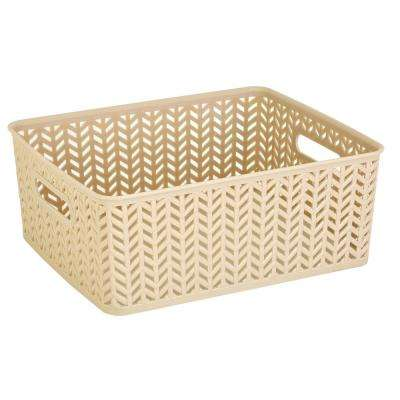 Medium Resin Herringbone Storage Tote