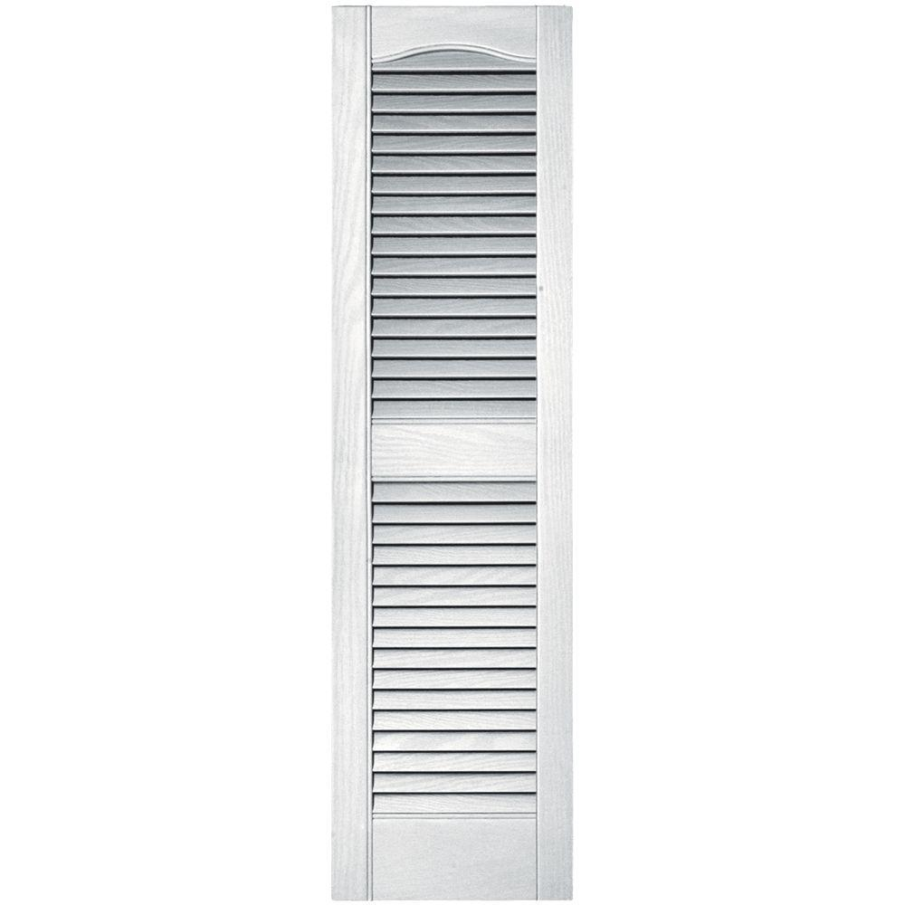12 in. x 43 in. Louvered Vinyl Exterior Shutters Pair in