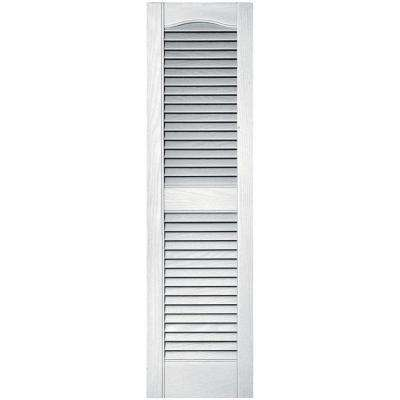 12 in. x 43 in. Louvered Vinyl Exterior Shutters Pair in #001 White