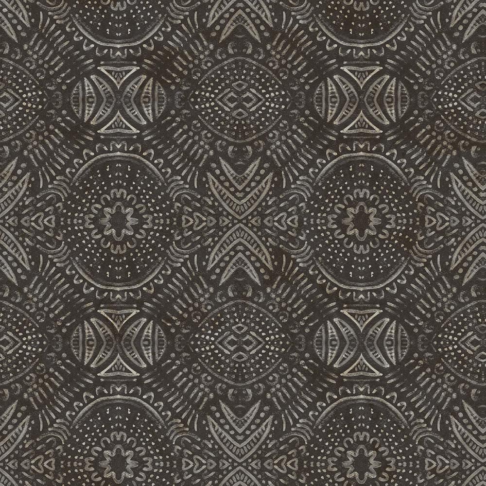 56.4 sq. ft. Java Dark Brown Medallion Wallpaper
