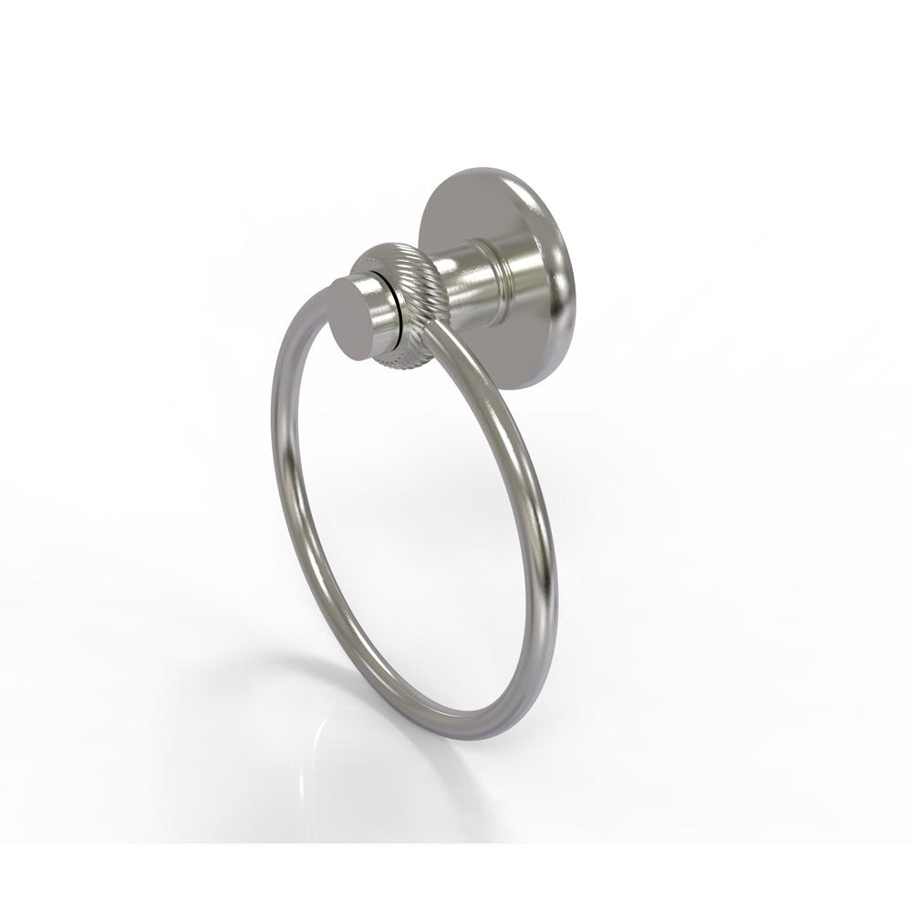 Allied Brass Mercury Collection Towel Ring with Twist Accent in Satin Nickel