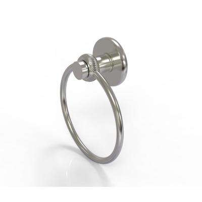 Mercury Collection Towel Ring with Twist Accent in Satin Nickel