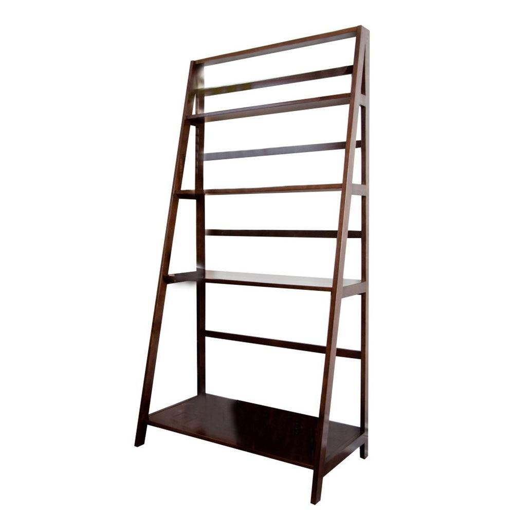 Simpli Home Acadian Tobacco Brown 4-Shelf Convertible Ladder Bookcase and Desk-DISCONTINUED