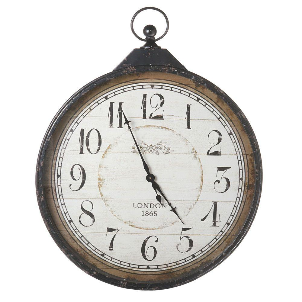Filament Design Sundry 40.75 in. x 31.75 in. Distressed Black Extra Large Pocket Watch Clock