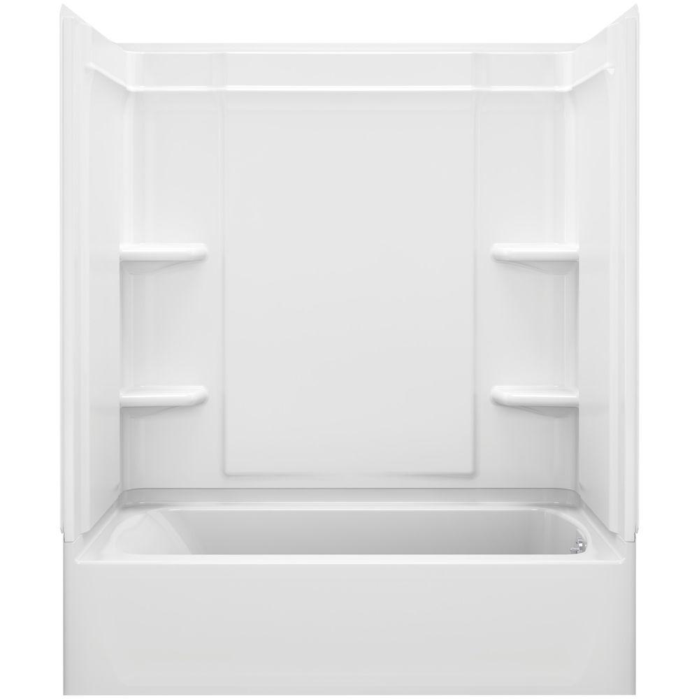 STERLING Ensemble Medley 60 in. x 32 in. x 77 in. 4-piece Tongue and Groove Tub Wall in White