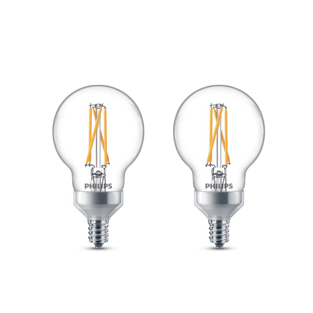 Philips 25-Watt Equivalent G16.5 Dimmable with Warm Glow ...
