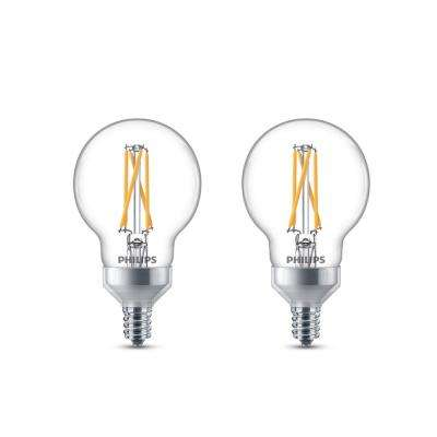 25-Watt Equivalent G16.5 Dimmable with Warm Glow Dimming Effect Globe LED Light Bulb Soft White (2-Pack)