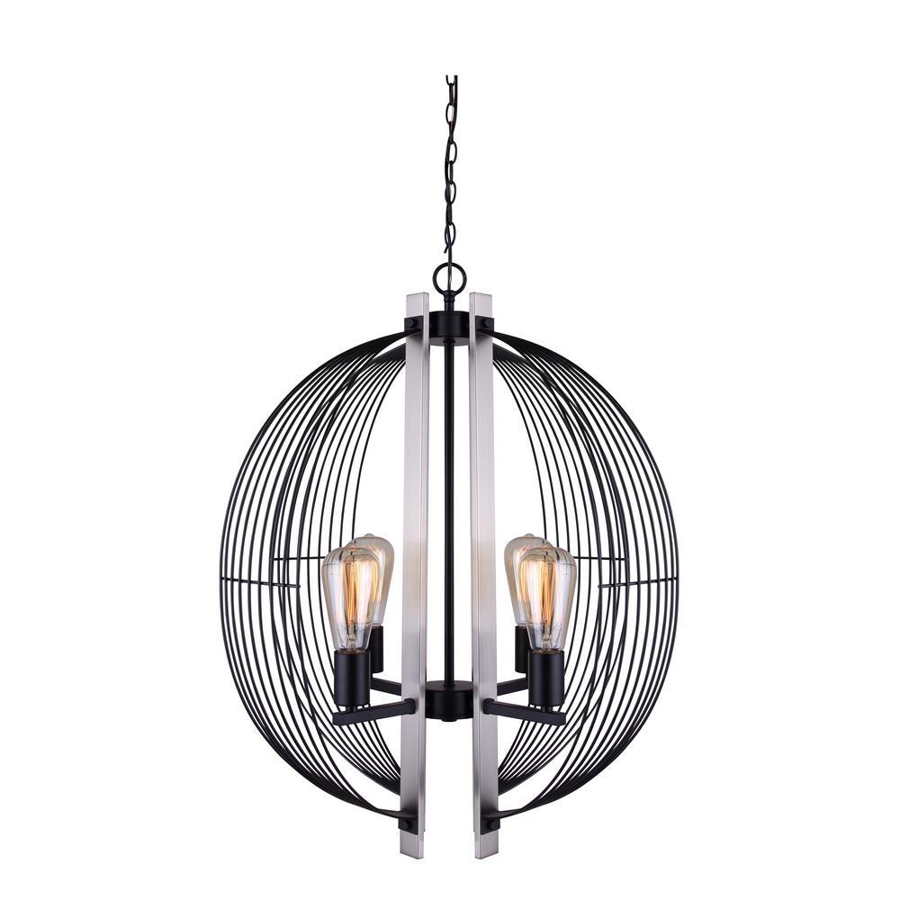 CANARM Memphis 4-Light Matte Black and Brushed Nickel Sphere Chandelier