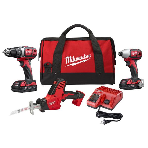 Milwaukee M18 18-Volt Lithium-Ion Cordless Drill Driver/Impact Driver and HACKZALL Combo Kit (3-Tool) with Two 1.5 Ah Batteries