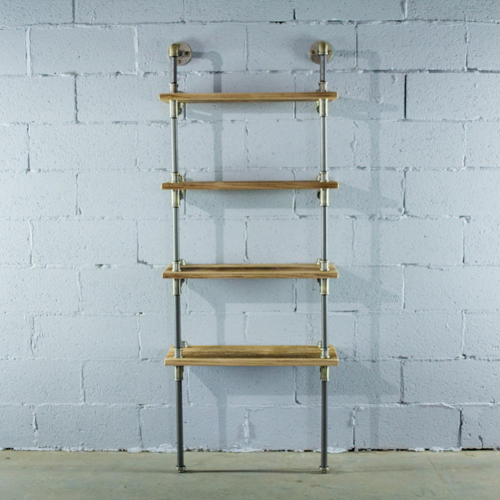 Brushed Brass Gray Steel Pipe 4-Shelf Open Bookcase with Reclaimed Wood