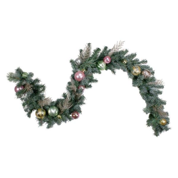 6 ft. Pink and Gold Unlit Ornaments Frosted Artificial Christmas Garland