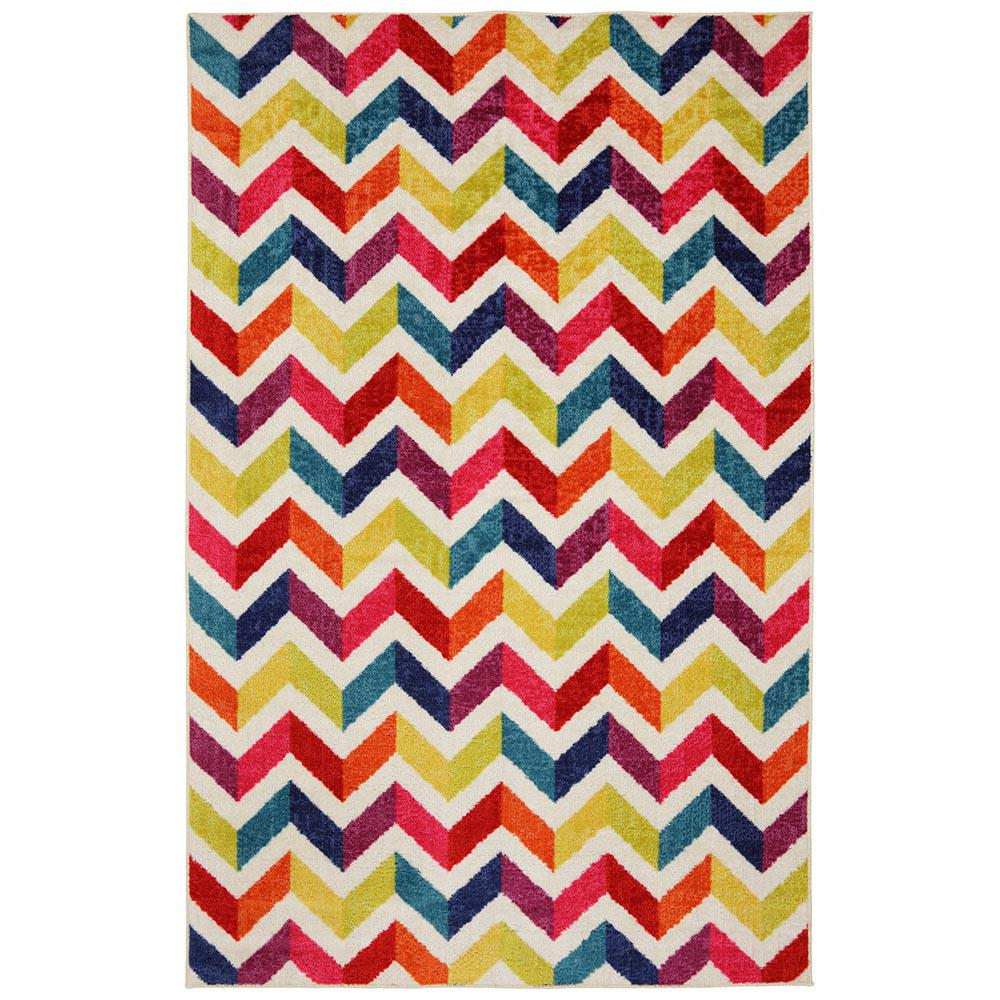 MOHAWK Mixed Chevrons Prism Multi 7 ft. 6 in. x 10 ft. Ar...