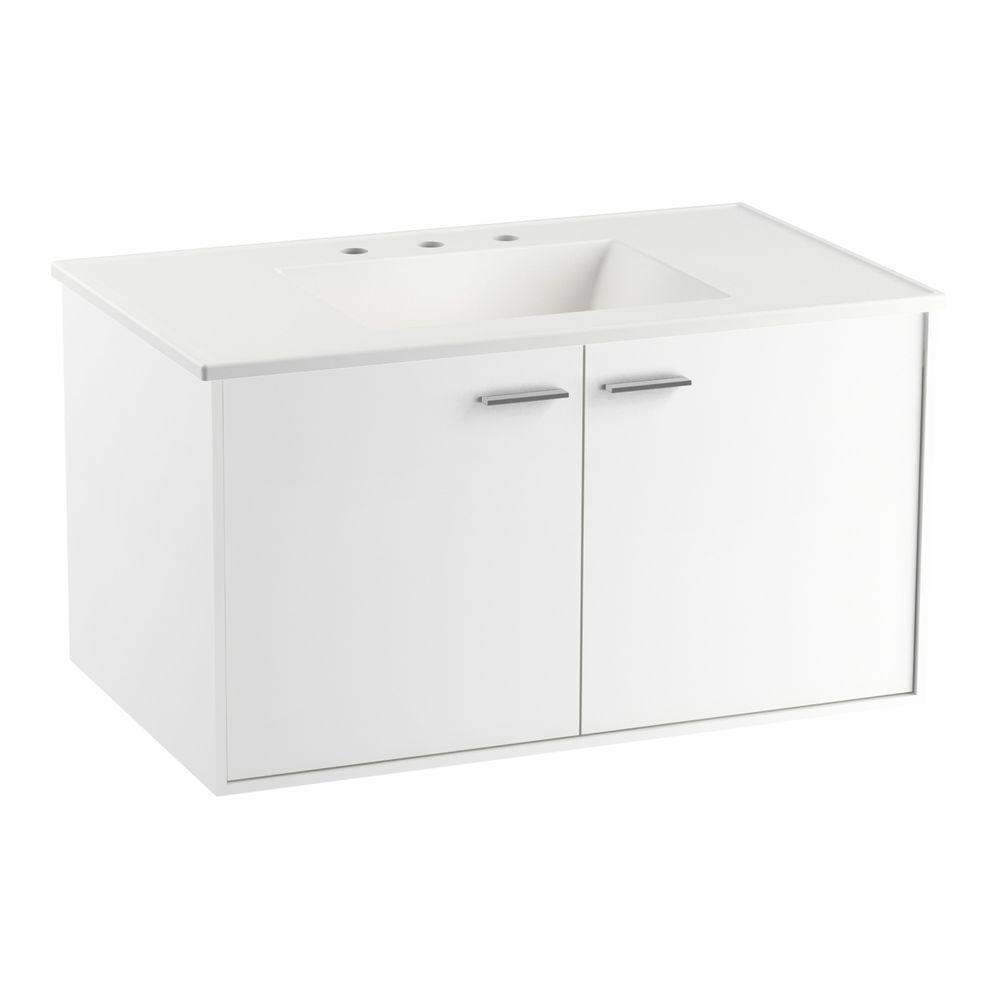 KOHLER Jute 36 in. Vanity in Linen White with Vitreous China Vanity Top in White