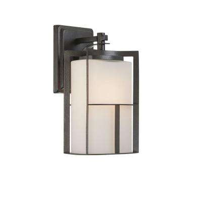 Braxton 1-Light Charcoal Outdoor Incandescent Wall Lantern Sconce