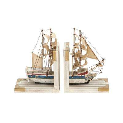 Multi-Colored Wood and Linen Sailing Ship Bookends (Set of 2)