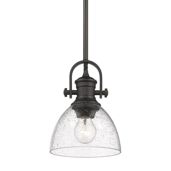 Hines 1-Light Rubbed Bronze Standard Mini Pendant with Glass Shade