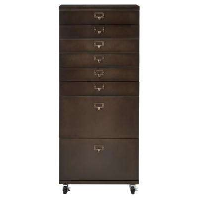 Becker 8-Drawer Antiqued Bronze Metal Cart