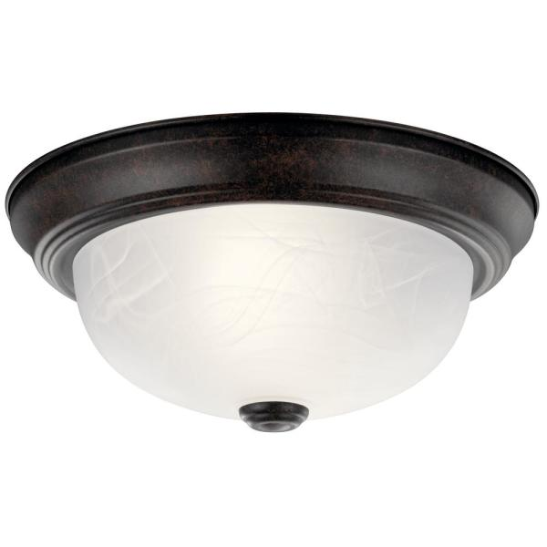 Independence 11.25 in. 2-Light Tannery Bronze Flush Mount Ceiling Light with Alabaster Swirl Glass
