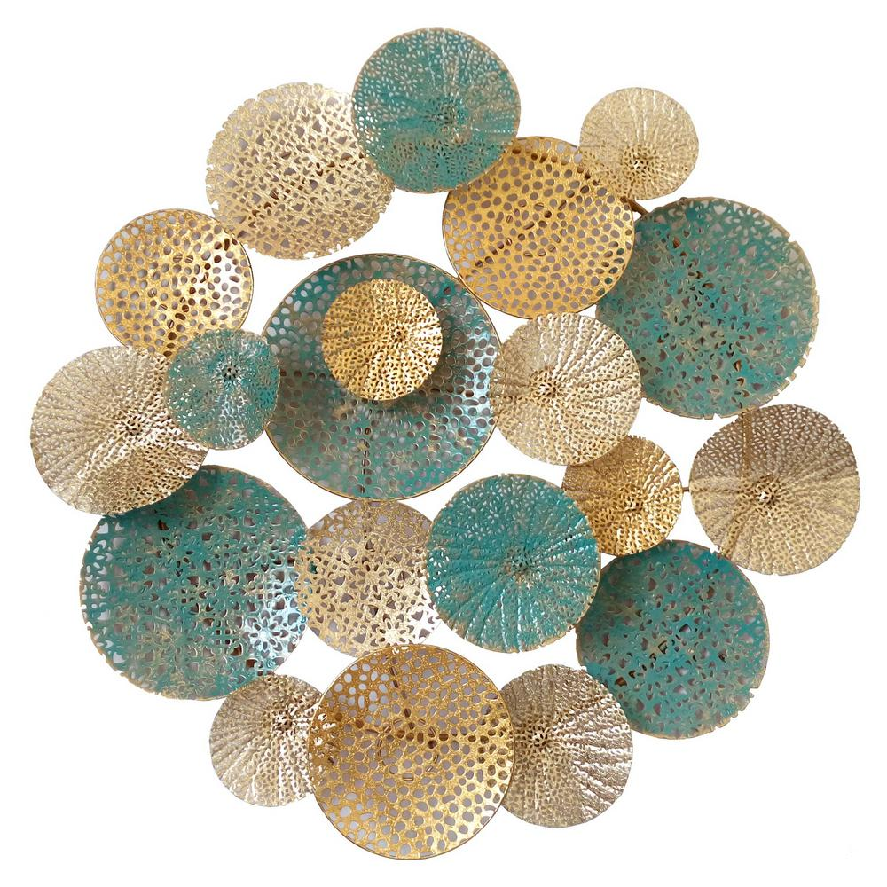 Blue Metal Wall Decor Delectable Three Hands Blue Metal Wall Decor96362  The Home Depot Design Inspiration
