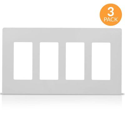 4-Gang Decorator Screwless Wall Plate, GFCI Outlet/Rocker Light Switch Cover, White (3-Pack)