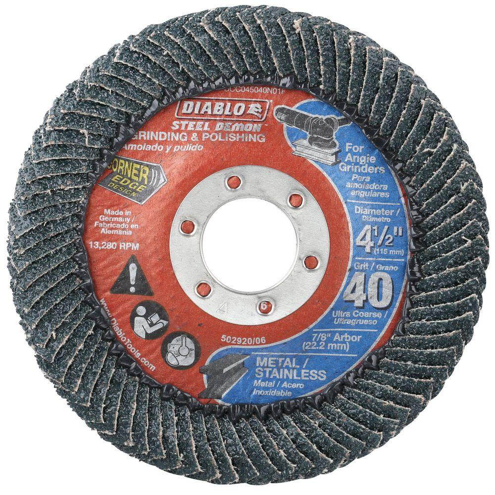 DIABLO 4-1/2 in. 40-Grit Steel Demon Corner-Edge Grinding and Polishing Flap Disc with Type 29 Conical Design