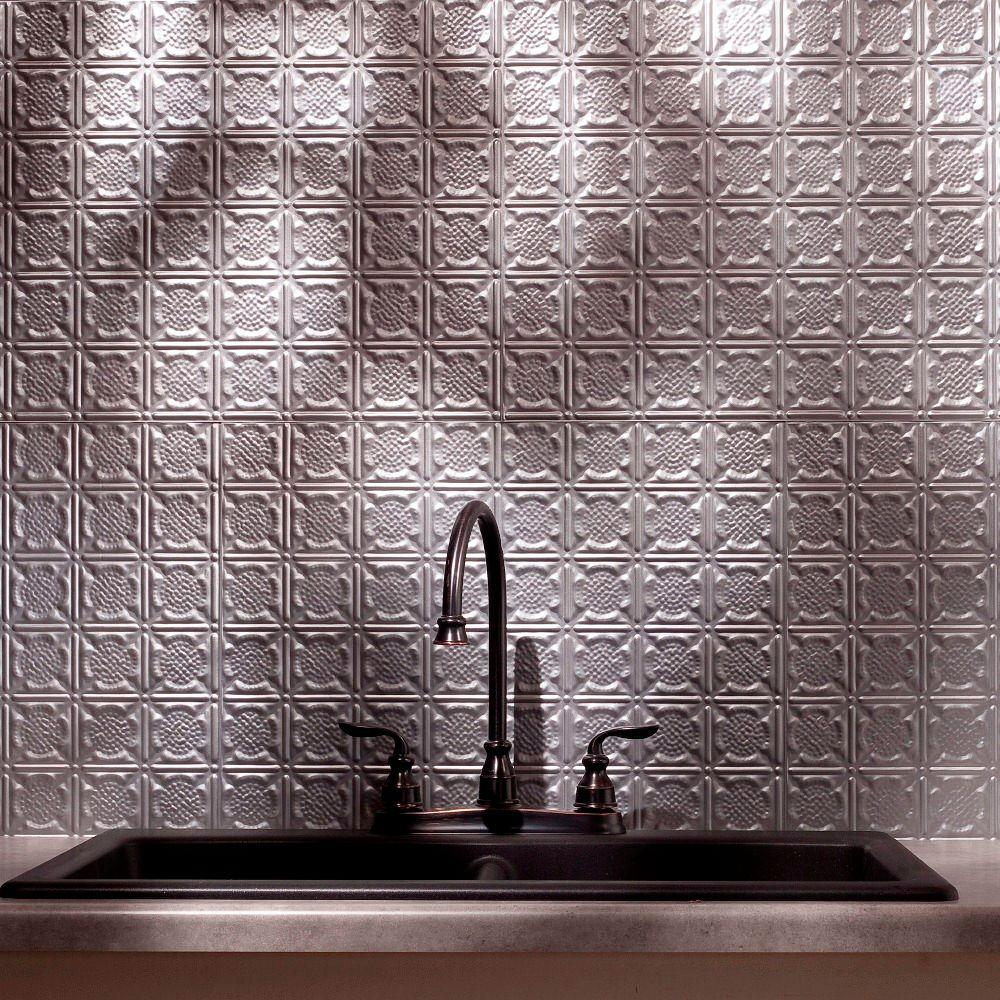 Fasade 24 in. x 18 in. Traditional 6 PVC Decorative Backsplash Panel in Argent Silver