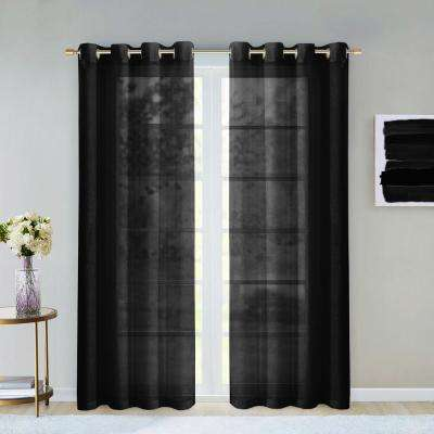 Malibu 55 in. W x 84 in. L Semi-Sheer Window Panel Pair in Black (2-Pack)