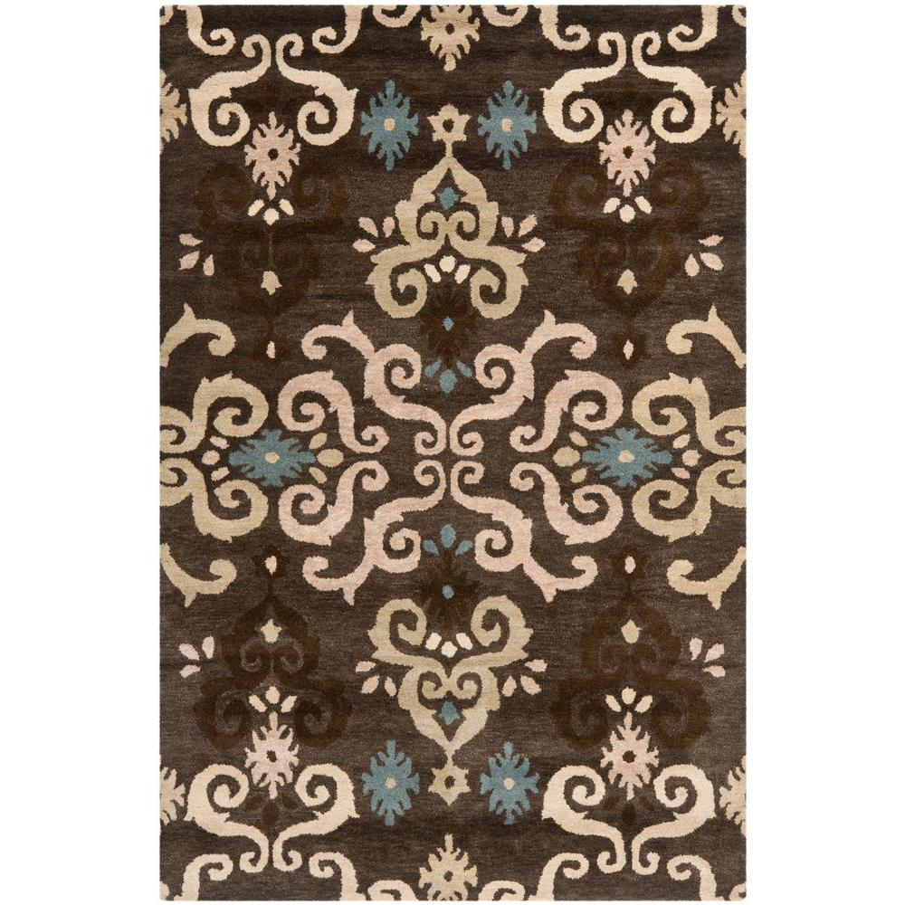 Safavieh Himalaya Turquoise 4 Ft X 4 Ft Round Area Rug: Safavieh Wyndham Brown/Multi 4 Ft. X 6 Ft. Area Rug