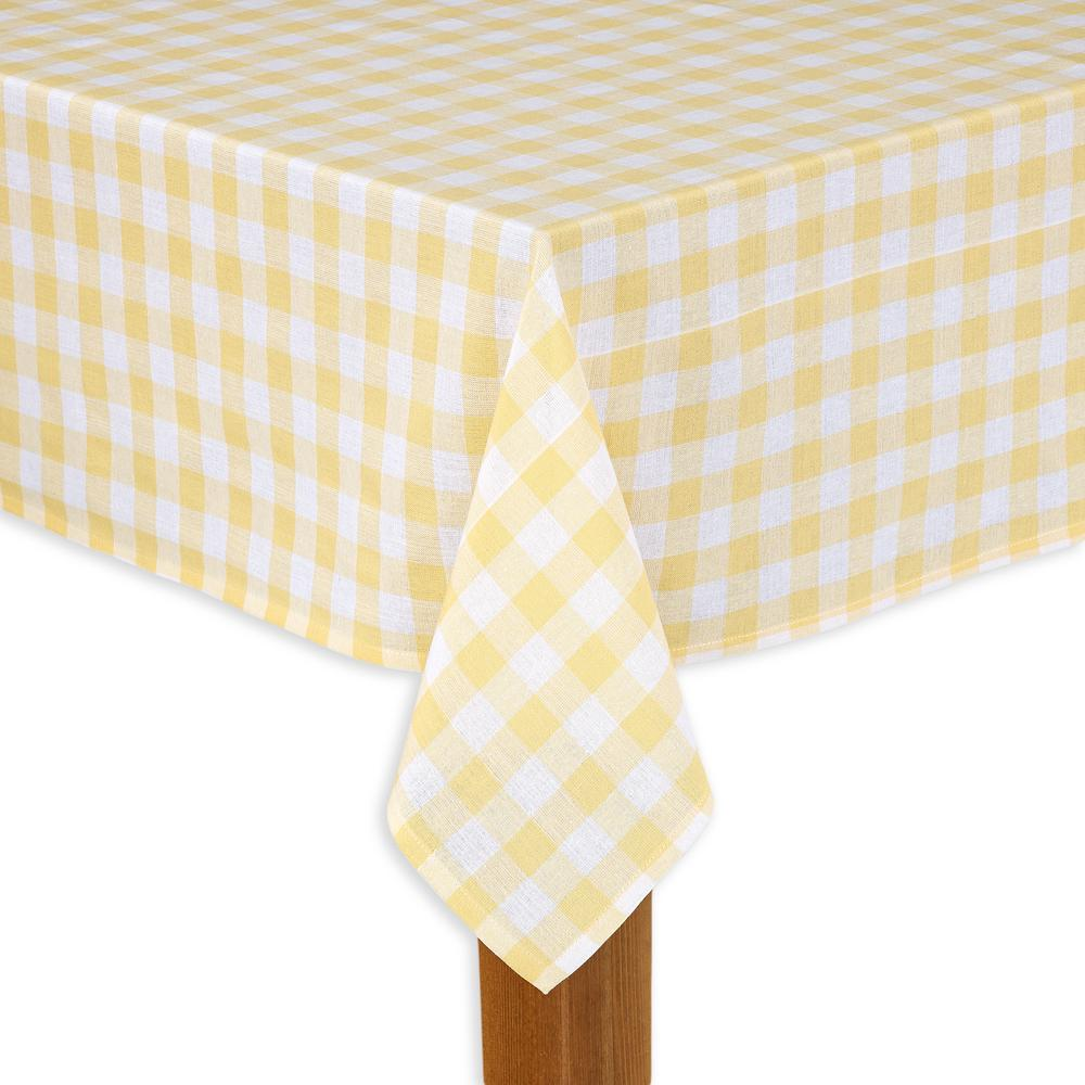 Buffalo Check 52 in. x 70 in. Yellow 100% Cotton Table