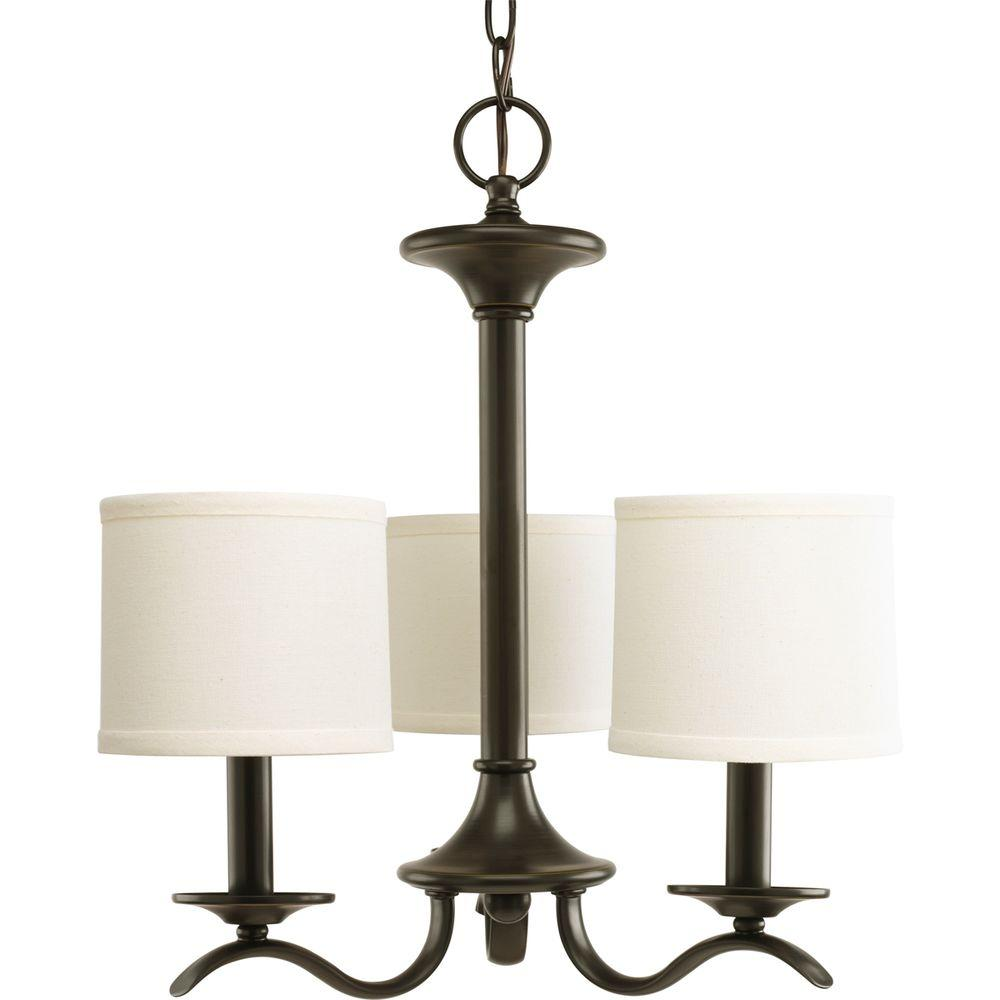 Progress Lighting Inspire Collection 3-Light Antique Bronze Chandelier with Shade with Beige Linen Shade