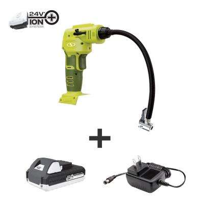 24-Volt Cordless Portable Inflator and Nozzle Adapters Kit with 1.3 Ah Battery Plus Charger