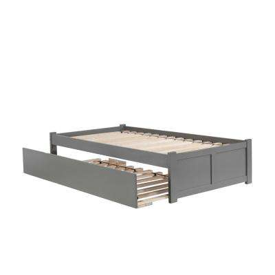 Concord Twin Platform Bed with Flat Panel Foot Board and Twin Size Urban Trundle Bed in Grey