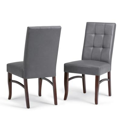 Ezra Contemporary Deluxe Dining Chair (Set of 2) in Stone Grey Faux Leather