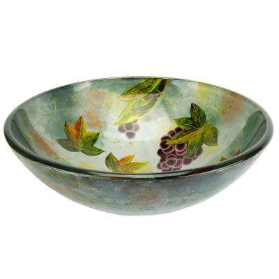 Tuscany Spring Glass Vessel Sink in Silver and Purple