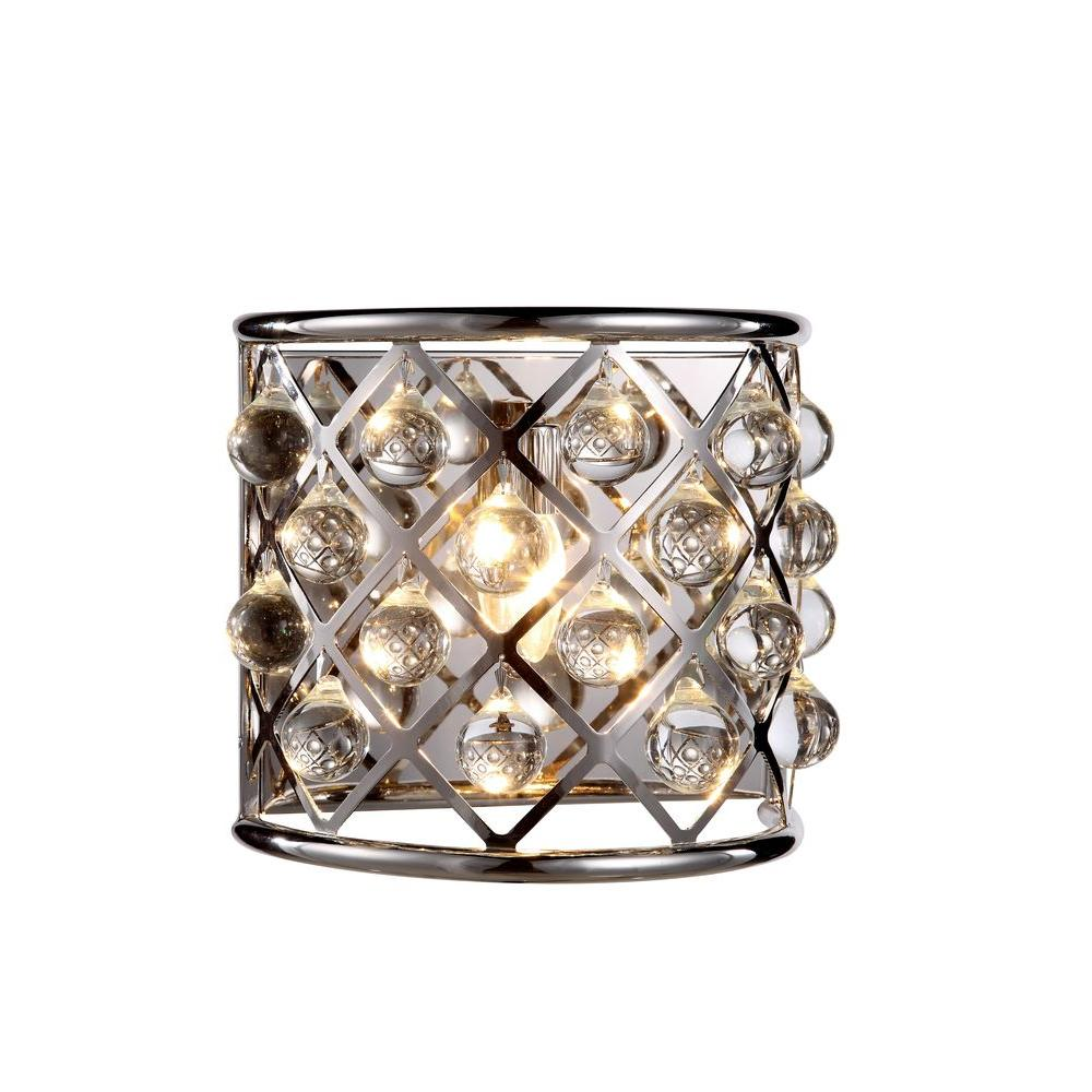 Elegant Lighting Madison 1 Light Polished Nickel Royal Cut Crystal Wall Sconce